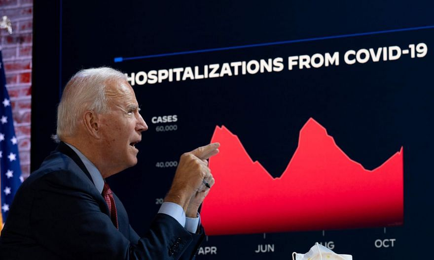 Democratic presidential candidate Joe Biden at a briefing on Covid-19 in Wilmington, Delaware, on Wednesday. PHOTO: AGENCE FRANCE-PRESSE