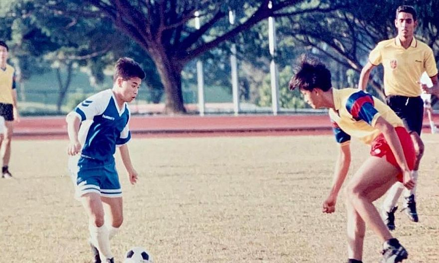 Mr Edwin Tong (far left), Minister for Culture, Community and Youth, playing football when he was an undergraduate. As a student-athlete, he had aspired to play on the hallowed turf of the old National Stadium. Now, he wants the younger generation to