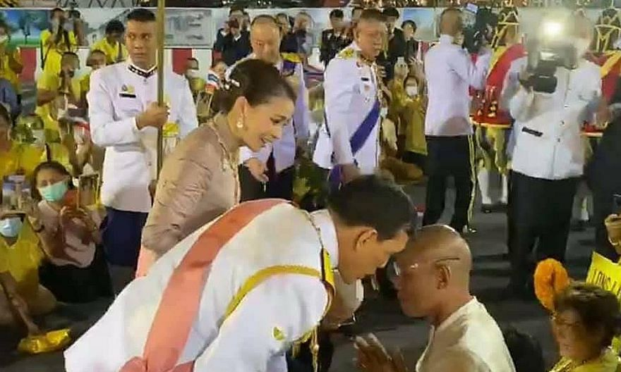 On Oct 23, outside the Grand Palace in Bangkok, King Maha Vajiralongkorn, flanked by Queen Suthida, leaned down and whispered into the ear of firebrand royalist Suvit Thongprasert.