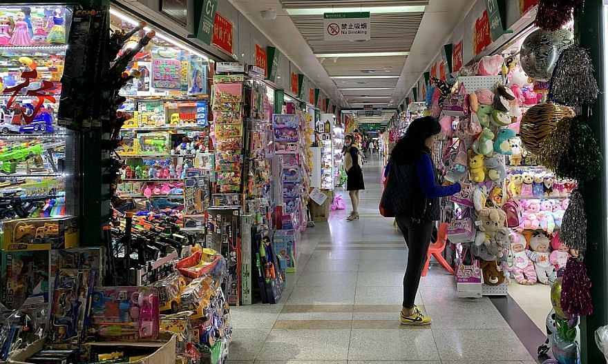 The International Trade City in Yiwu city, Zhejiang province, has five interlinked blocks that sell everything from bras to hardware, as well as the world's largest small-commodities wholesale market spanning nearly 1,000 football fields. ST PHOTO: T