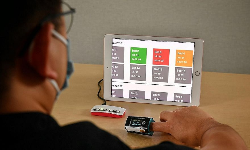 With the new wireless system, the dashboard can be accessed via a laptop, tablet or smartphone and will display the user's name and pulse oximeter readings. Green indicates that both the user's blood oxygen and heart rate readings are normal. Orange
