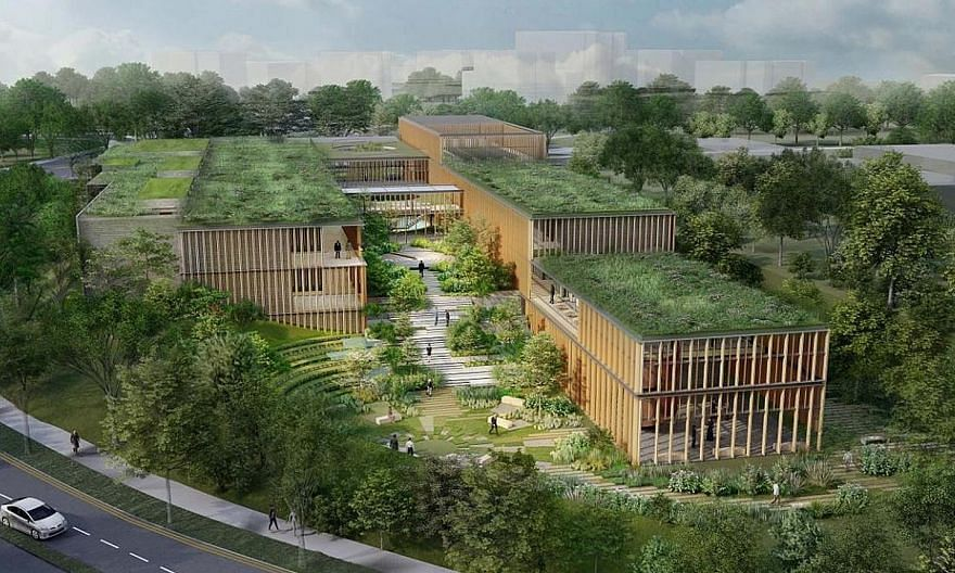 An artist's impression of the funeral parlour complex to be built in Bidadari estate. Slated to be completed in 2025, the facility will occupy 1.1ha of the 7.1ha previously occupied by Mount Vernon Columbarium Complex. A memorial garden will sit next