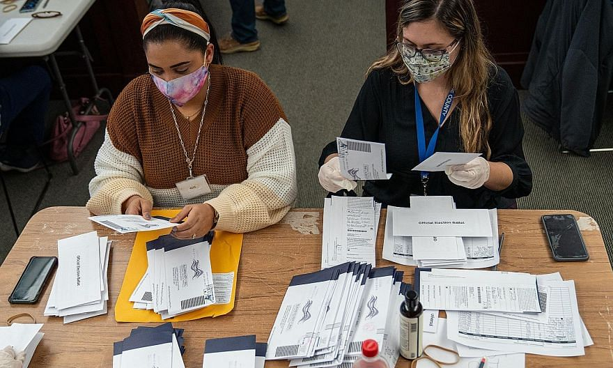 Above: Ballots being sorted in Wilkes-Barre, Pennsylvania. The battle for the state, which may yet decide the outcome of the election, hinges on mail-in ballots which favour Democratic candidate Joe Biden. Left: Election workers at a kerbside voting