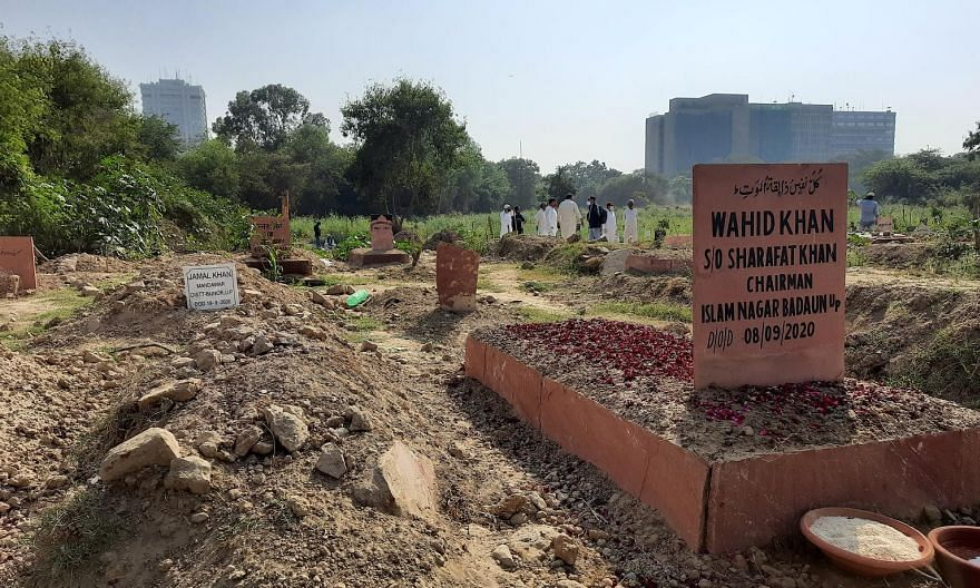 At the section designated for Covid-19 victims in the Jadid Qabristan Ahle Islam, Delhi's biggest Muslim graveyard, many graves belong to individuals from states such as Bihar and Uttar Pradesh. The authorities in the city do not permit bodies of Cov