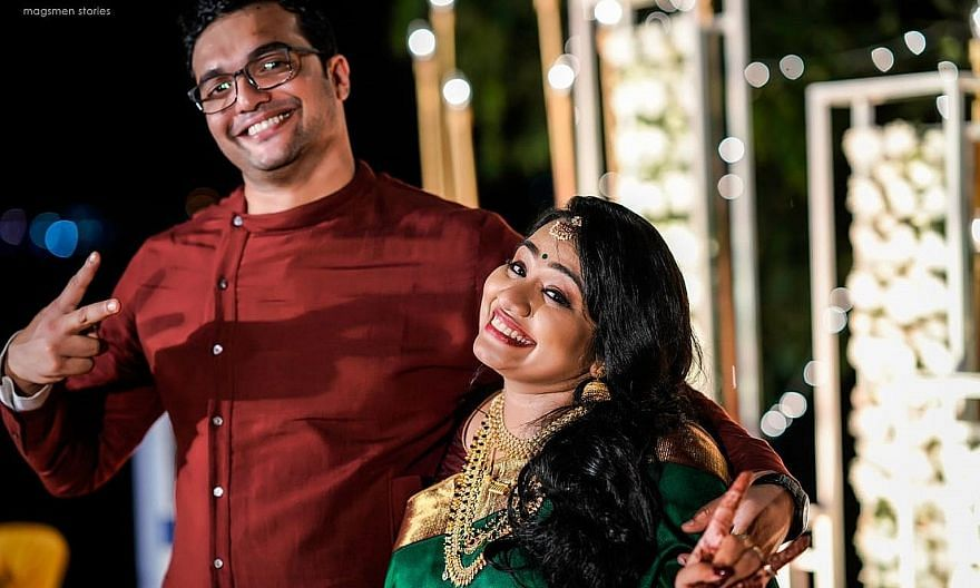 Ms Athira Sujatha Radhakrishnan and Mr Shameem P. at their wedding last December. The couple's application for a civil union was posted online by a stranger and drew hateful comments because she is a Hindu and he a Muslim.