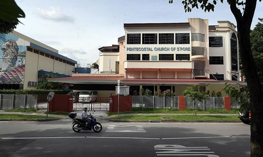 The Pentecostal Church of Singapore in Tai Gin Road. Churchgoers said that the allegations have outraged many in the 500-strong congregation, which includes low-wage foreign workers who tithe their income.