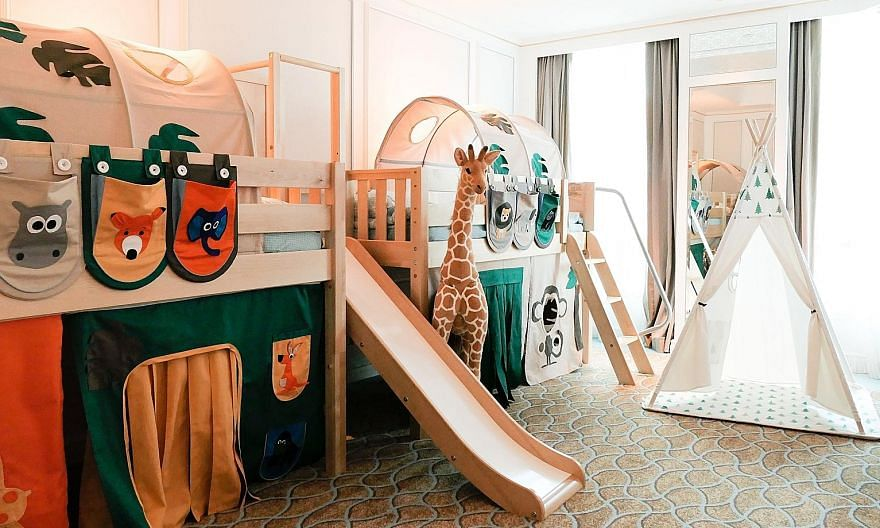 (Above) The Yacht-cation Escape package offered by M Social and Orchard Hotel caters to a growing demand for staycations with unique features. (Left) The Family Suite at InterContinental Singapore features an interactive kids' zone with two bunk beds