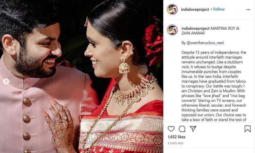 """A post on the India Love Project site - from Martina Roy, a Christian, married to Zain Anwar, a Muslim - reads: """"It was probably our honesty and determination that changed the minds of our families."""" PHOTOS: INDIA LOVE PROJECT/INSTAGRAM Screenshot of"""