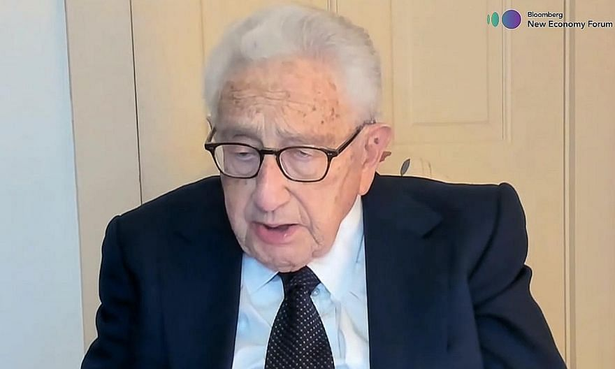 """Former US secretary of state Henry Kissinger noted that """"there will always be stresses and tensions"""" in Sino-US ties. PHOTO: BLOOMBERG"""