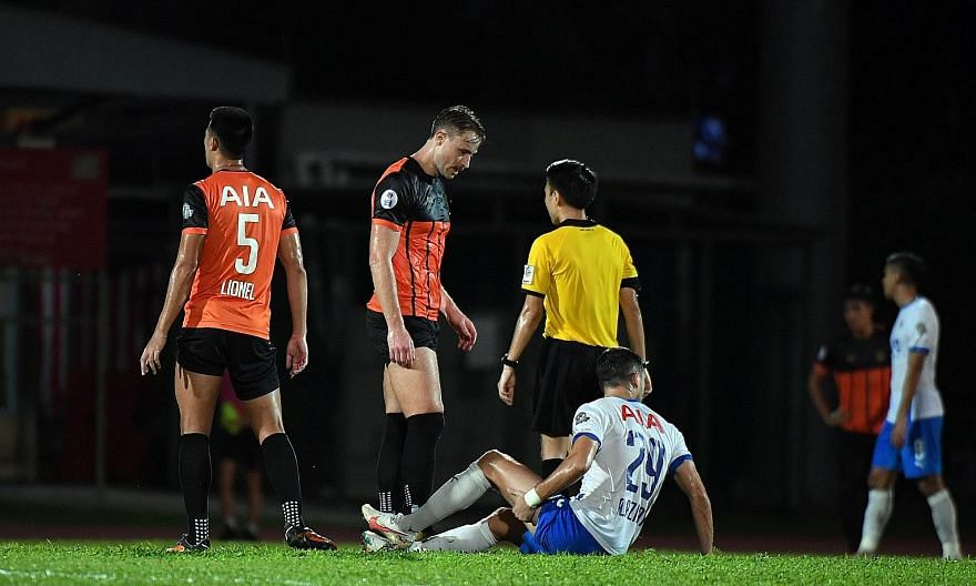 Lion City Sailors' forward Stipe Plazibat on the ground with an injury in their SPL match against Hougang last Tuesday. He has accounted for 14 of the Sailors' 29 goals, with the rest scored by nine different players.