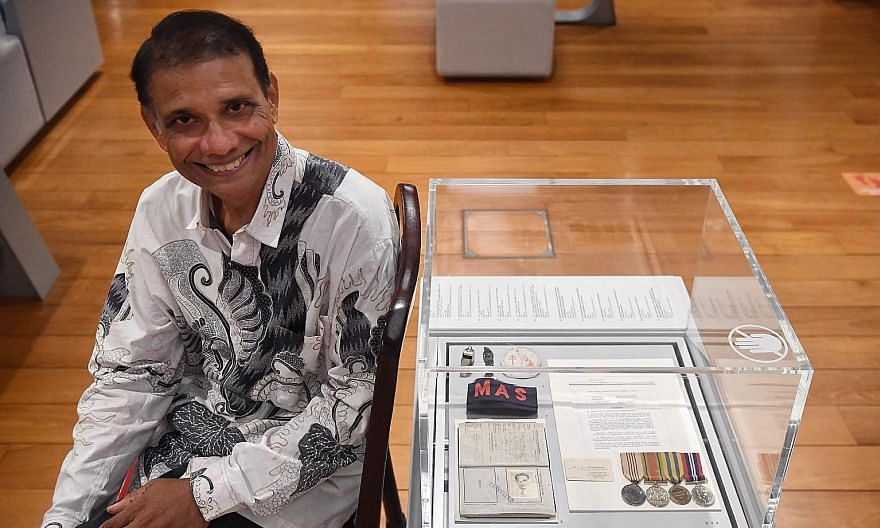 A pair of Rolex watches that had belonged to the late Mr and Mrs Lee Kuan Yew on display at the National Museum of Singapore. Lawyer Paul Supramaniam with items he lent to the Indian Heritage Centre in the hope of inspiring Singapore's small populati