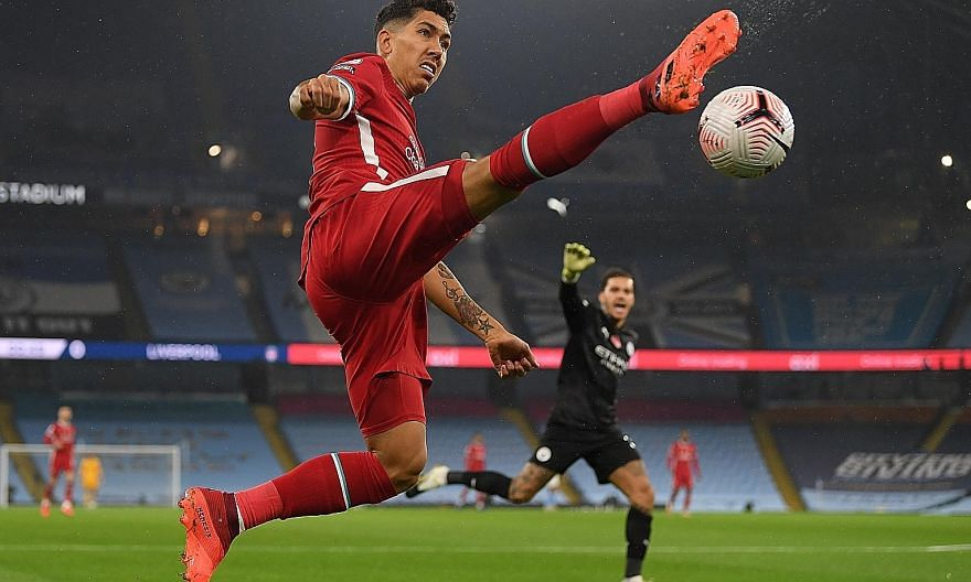 Liverpool's Roberto Firmino playing against Man City this month. Manager Jurgen Klopp lauded his contribution even when he was not scoring.