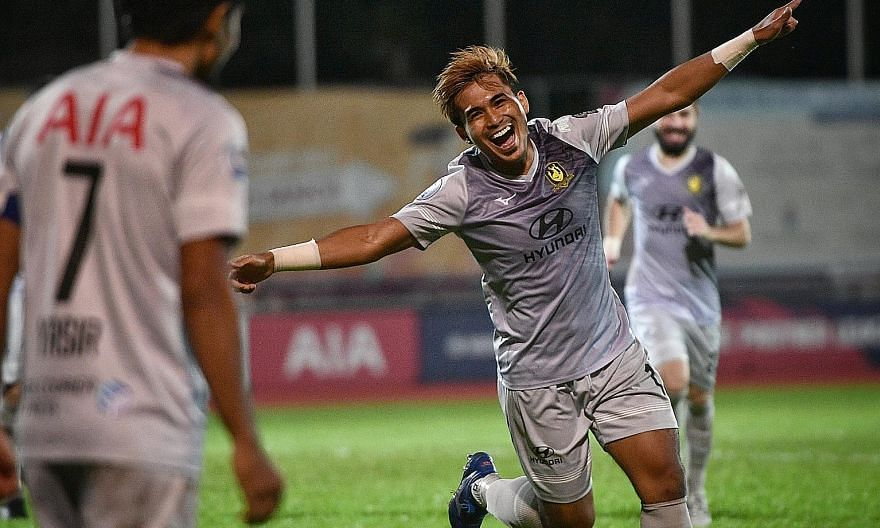 Tampines Rovers' Taufik Suparno in high spirits after scoring just 36 seconds into his second-half appearance against Hougang.