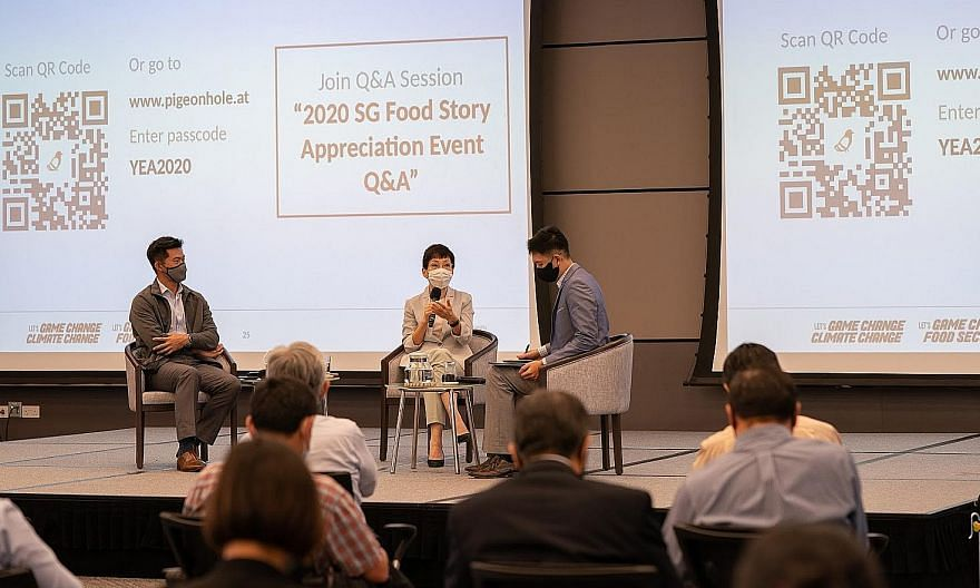 Sustainability and the Environment Minister Grace Fu and Minister of State for Sustainability and the Environment Desmond Tan (far left) at a Q&A yesterday moderated by Mr Darren Tan of urban farm ComCrop.