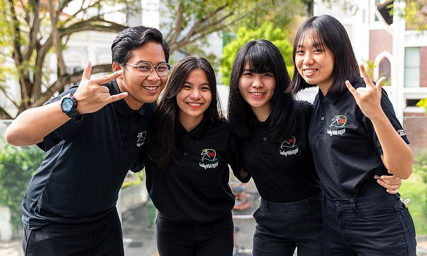 Institute of Technical Education College East students (from left) Danish Sufi Usyair, Margie Ybanez, Dela Cruz Trisha Mae Guzman and Cheryl Oon Siew Ying posted their video on platforms such as YouTube and Instagram to raise funds. They also reached