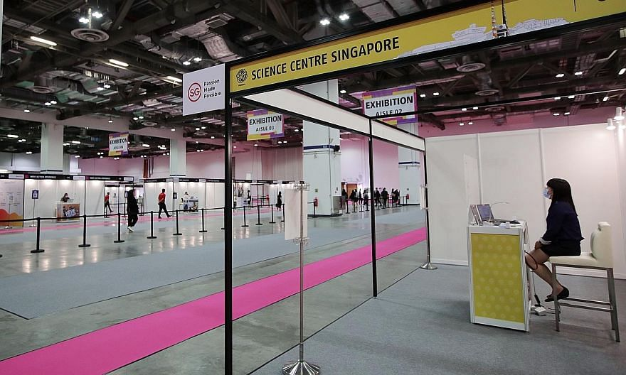 Exhibition booths at the TravelRevive trade show, which ended yesterday at Sands Expo and Convention Centre. A survey of 14 key markets, commissioned by the Singapore Tourism Board, found respondents had a strong perception of Singapore as a safe des