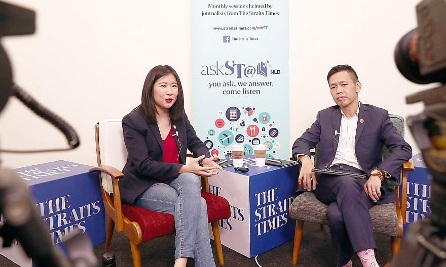 "Straits Times travel correspondent Clara Lock and Singapore Tourism Board chief executive Keith Tan at askST@NLB's second November session. Mr Tan hopes that Singaporeans will ""take the time to slow down, step out and be proud of this beautiful littl"