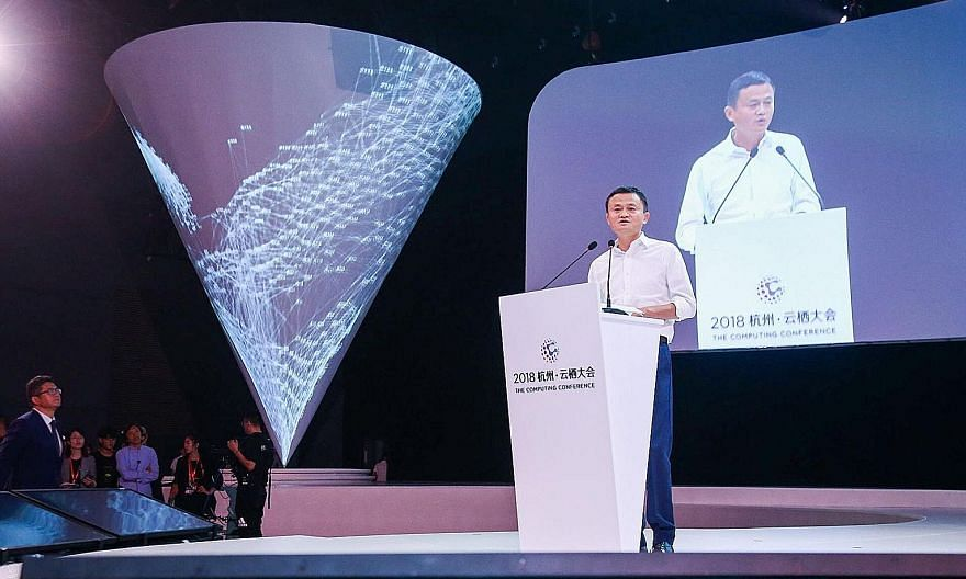 Alibaba founder Jack Ma at the company's annual tech conference in Hangzhou in 2018. His Oct 24 speech, which criticised Chinese regulators, angered President Xi Jinping, who then ordered regulators to suspend Alibaba affiliate Ant Group's initial pu