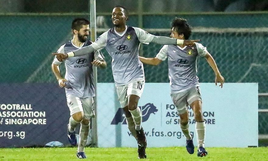 Tampines Rovers forward Jordan Webb celebrating with Zehrudin Mehmedovic and Kyoga Nakamura after scoring his 100th Singapore Premier League goal in the 3-1 win over the Young Lions.