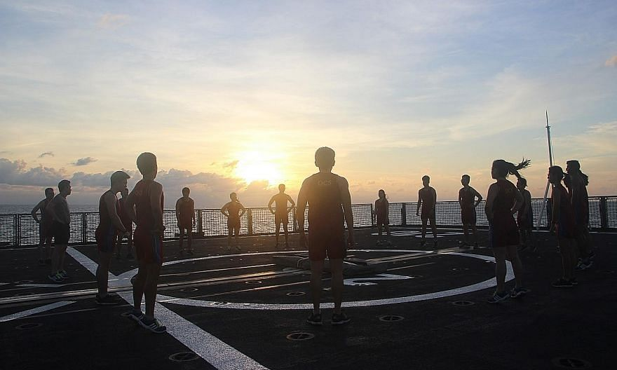 Midshipmen doing their daily fitness regime on board the RSS Endeavour during their 20-day training deployment from Nov 9 to 29. PHOTO: MINISTRY OF DEFENCE