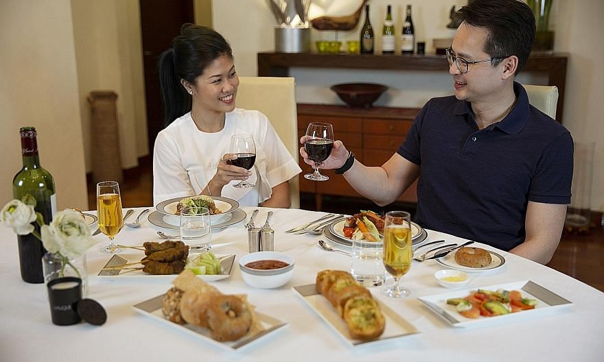The first-and business-class meals (above) delivered to homes are the very ones served aboard Singapore Airlines' flights and were designed by its panel of renowned chefs.