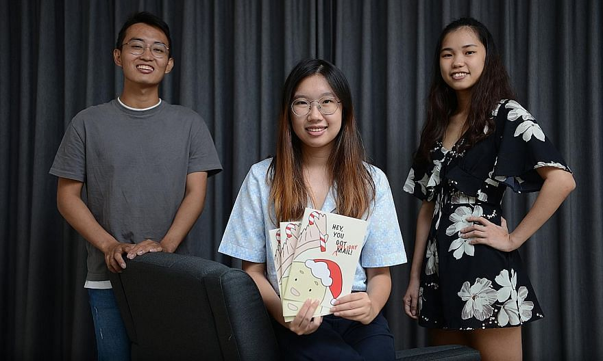 The six friends behind the Hey, You Got Mail! project are (above, from left) full-time national serviceman Triston Tan, National University of Singapore medical student Joanne Yep, Nanyang Technological University biological sciences students Jaslyn