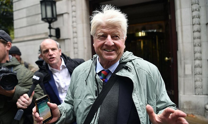 """A 2019 photo of Mr Stanley Johnson in London. Asked this week about his plans to seek French citizenship, he said his mother was born in France and """"for me, it's a question of obtaining what I already have and I am very happy about that"""". PHOTO: EPA-"""