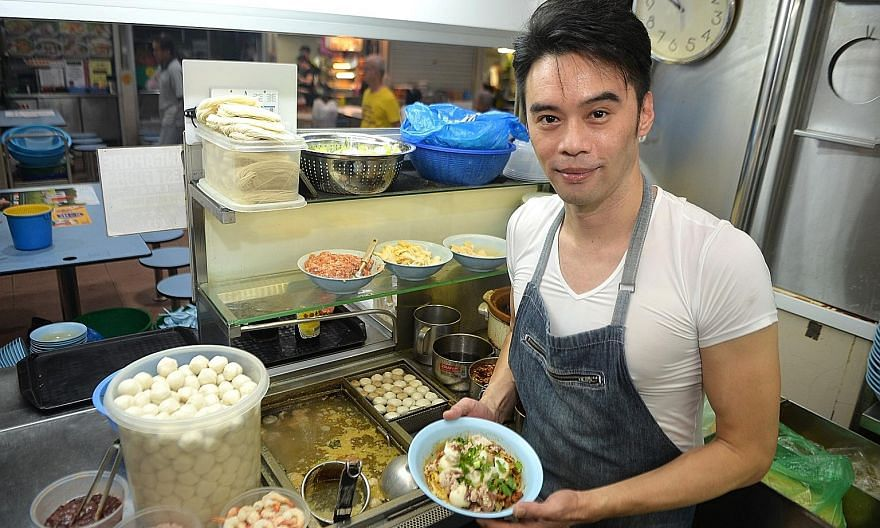 Noodle seller Gilbert Lim, in his 40s, runs Ah Ter Teochew Fish Ball Noodle at Amoy Street Food Centre. Given the importance of hawker food to Singaporeans, attracting new blood to the trade is crucial to preserving hawker culture.
