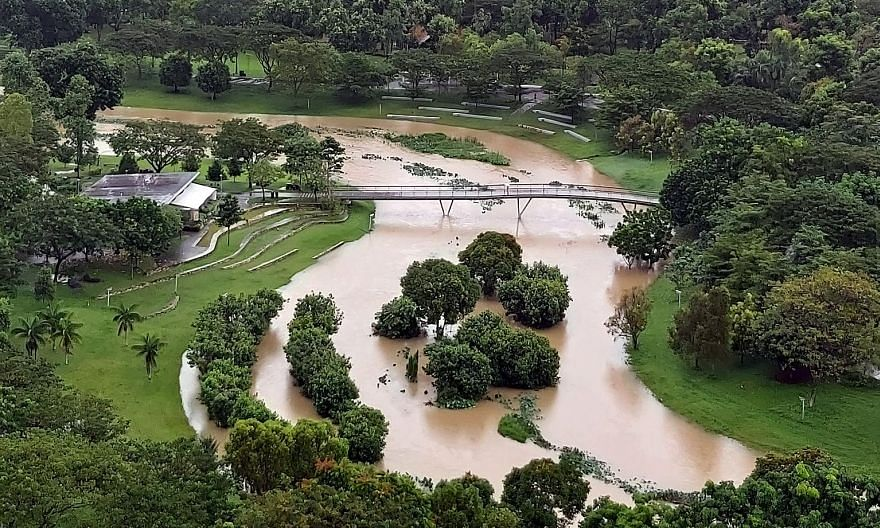 Photos of high water levels at Bishan-Ang Mo Kio Park led some to think it is flooded, but a canal is channelling water downstream. PHOTO: ST READER