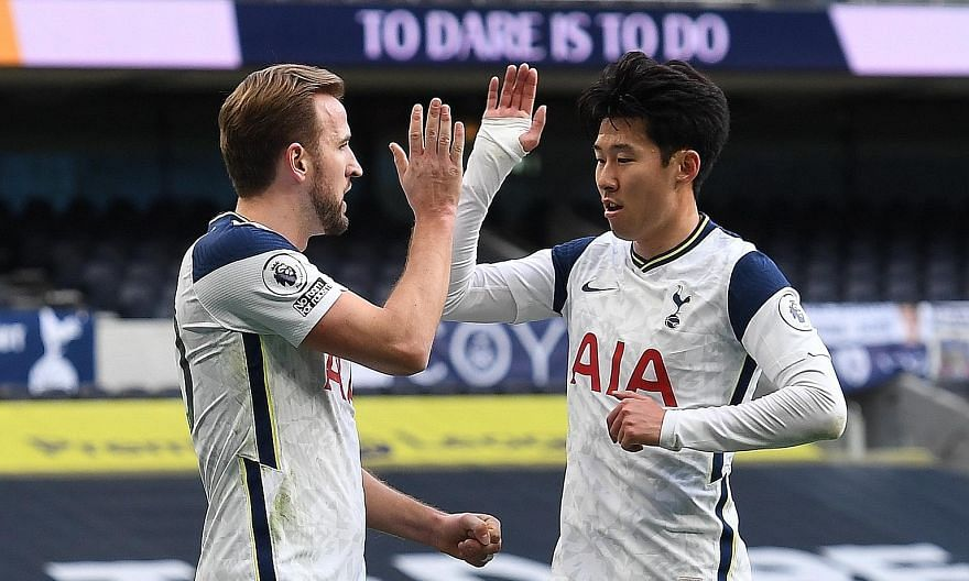 Tottenham's reliance on Harry Kane and Son Heung-min for goals is risky. Steven Bergwijn is the third of the front three, a diligent defender who has not scored in 27 appearances. PHOTO: EPA-EFE