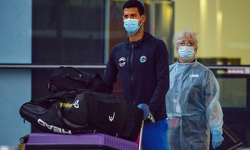 Novak Djokovic arriving in Adelaide where he will isolate and prepare for the warm-up tournaments before the Australian Open. Tennis players and officials arriving in Melbourne on a charter flight. They will enter two weeks of quarantine before the s