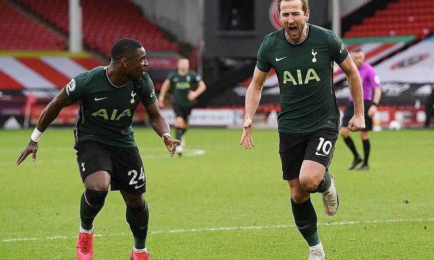 An elated Harry Kane is joined in celebration by Serge Aurier, after the Tottenham striker put his side two up against cellar-dwellers Sheffield United, with the defender having given Spurs a fifth-minute lead before Tanguy Ndombele got the third in