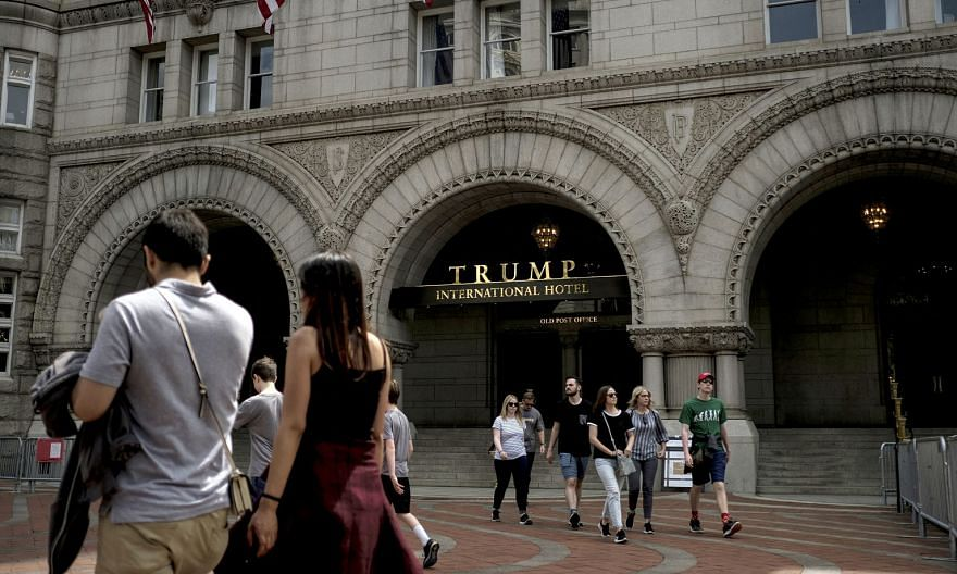 Revenue from the Trump International Hotel (left) in Washington fell to US$15.1 million (S$20 million) from US$40.5 million a year earlier, according to Mr Donald Trump's last financial disclosure form as US president.