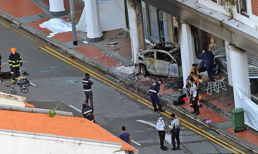 The car involved in a crash that killed five people in Tanjong Pagar on Feb 13 was said to be speeding along a stretch with a 50kmh limit.
