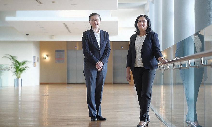Professor Liu Bin, NUS' head of chemical and biomolecular engineering and vice-president of research and technology, and Professor Tulika Mitra, NUS vice-provost of academic affairs. More women are joining the university - almost 32 per cent of its 2