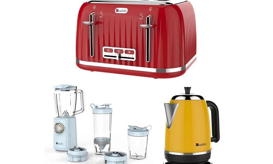 Clockwise from Top, Odette's Jukebox series 4-slice bread toaster; Streamline series 1.7l stainless steel electric kettle; and multifunction Smoothie To Go personal blender. SPH subscribers get a 20 per cent discount.