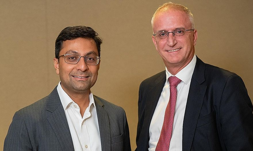 Mr Anurag Mathur, HSBC's wealth and personal banking head, and Mr Philip Kunz, the bank's head of global private banking for South-east Asia, spoke about the needs of wealthy clients and what Singapore has to offer in the wealth banking sector. PHOTO