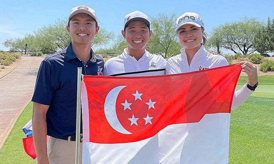 From left: James Leow, Nicklaus Chiam and Ashley Menne at the Southwestern Amateur tournament.