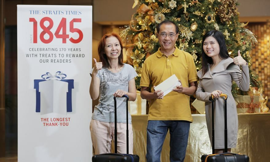 Ms Leong Chee Fun (left), Mr Lee Eng Hock and Ms Lim Yan Ming, who won prizes at this month's ST170 giveaway. Ms Leong and Ms Lim won Tumi suitcases, while Mr Lee won a stay at the Ritz Carlton Hotel.
