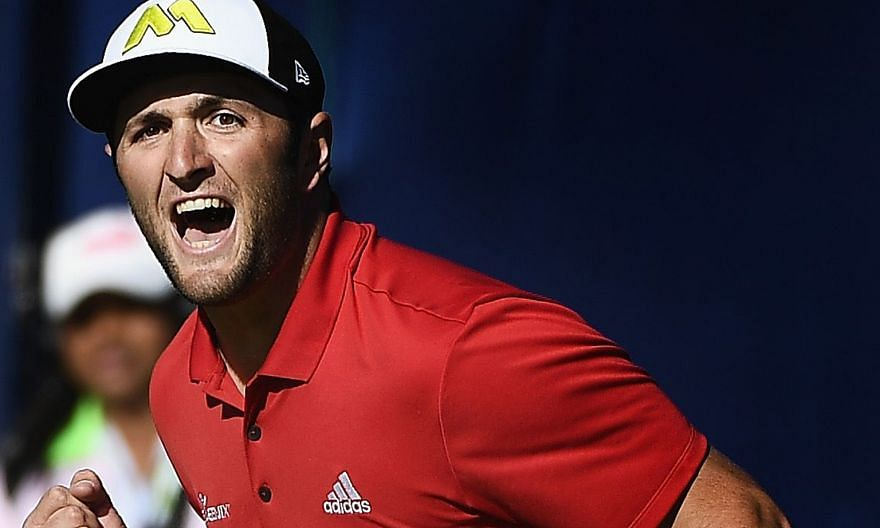 A jubilant Jon Rahm after his 60-foot eagle putt on the final hole effectively gave him victory at Torrey Pines on Sunday.