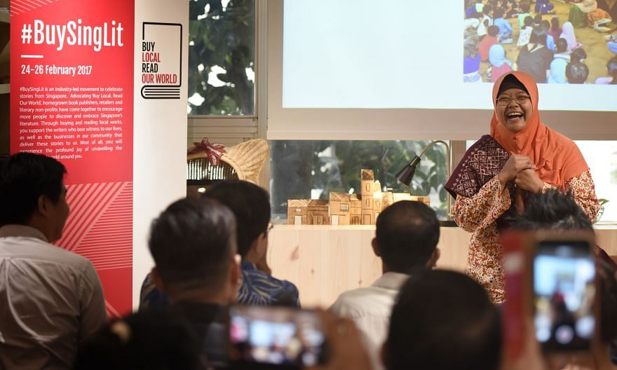 Author and storyteller Jumaini Ariff at the launch of the #BuySingLit campaign last week. The event from Feb 24 to 26 aims to promote the purchase of local literary works in print form.