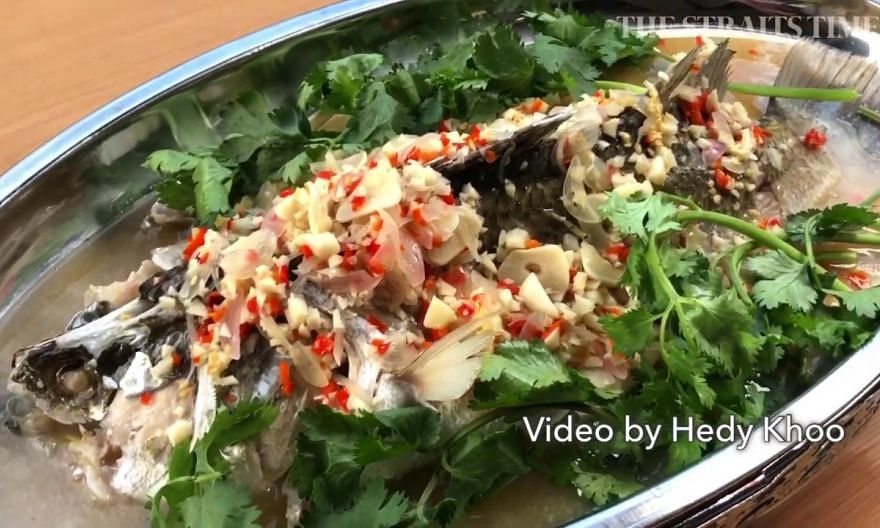 Thai-style steamed sea bass with a citrusy dressing