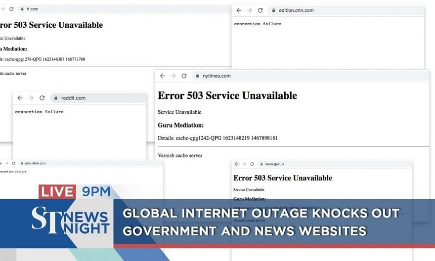 Global internet outage knocks out government and news websites | ST NEWS NIGHT