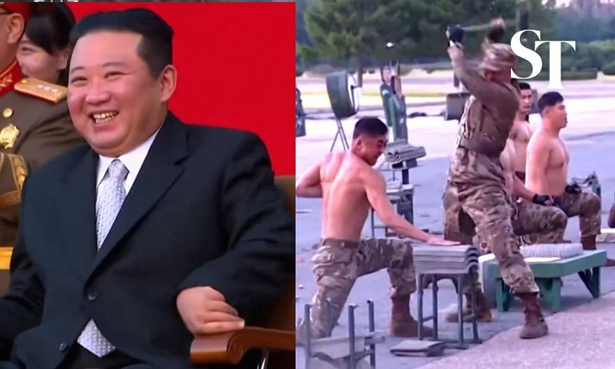 North Korean army gives brutal show of 'strength, bravery and morale'