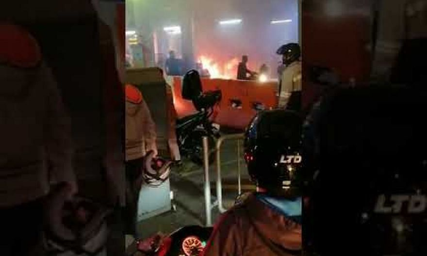 Fire at Woodlands Checkpoint from burning motorcycle