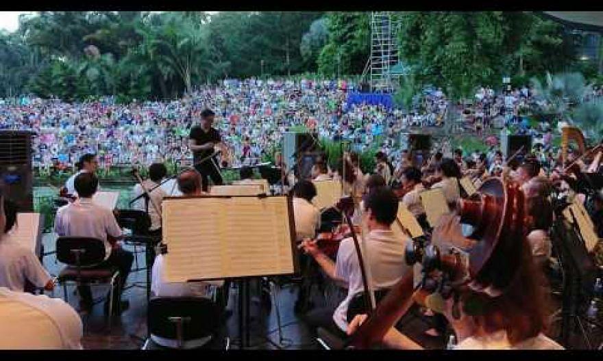The Singapore Symphony Orchestra play at the Singapore Botanic Gardens