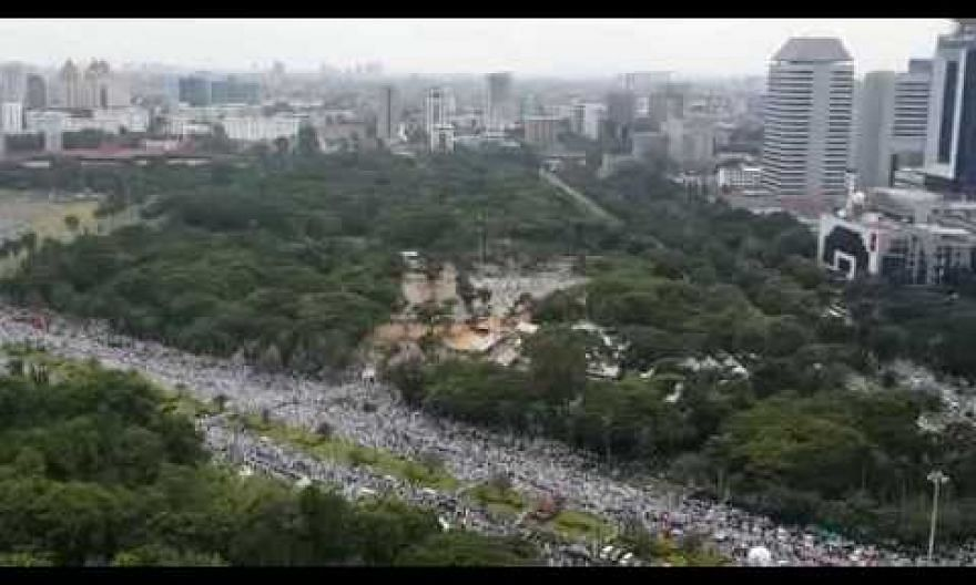 Protestors in Jakarta gathering near the National Monument (Monas) in Central Jakarta