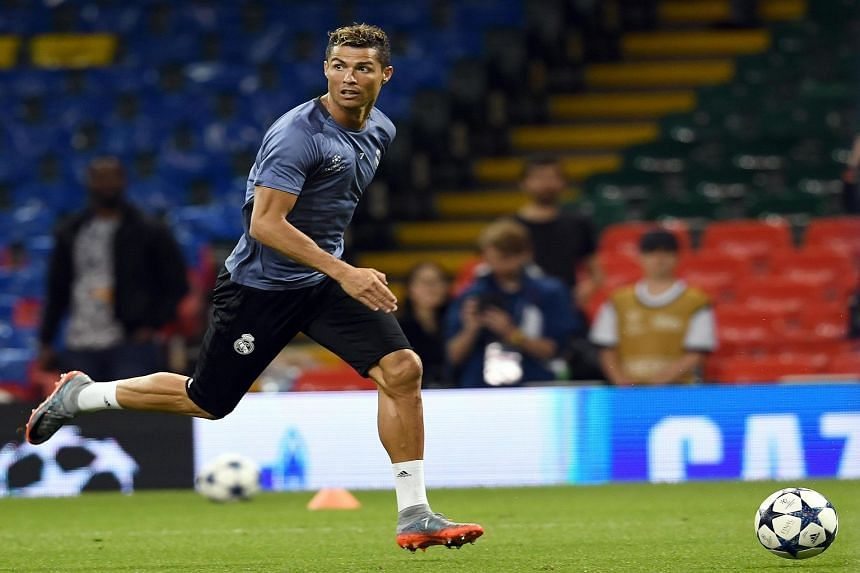 Real Madrid's forward Cristiano Ronaldo during their team's training session at the National Stadium of Wales in Cardiff, Britain, on June 2, 2017.