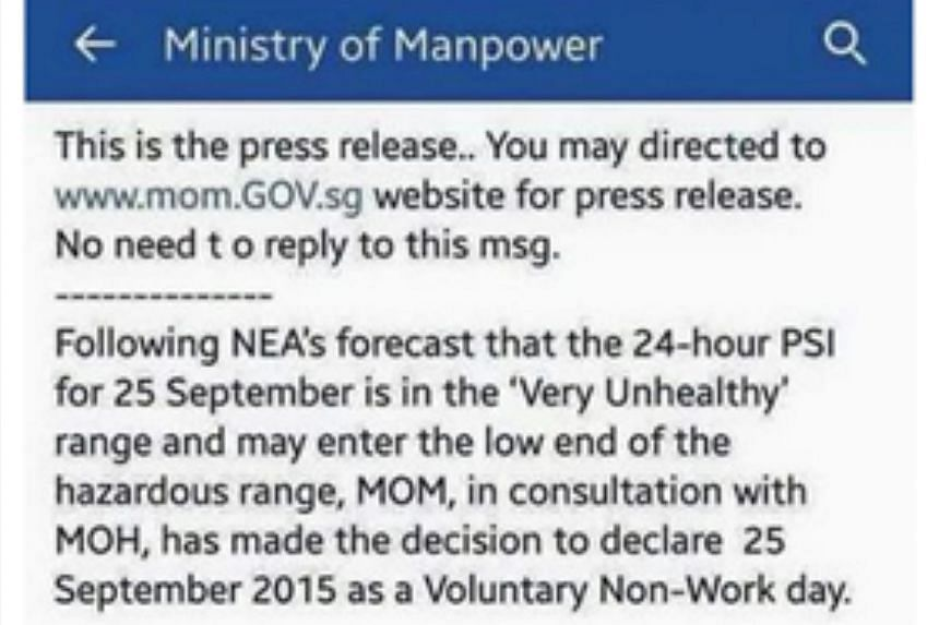 """The Ministry of Manpower (MOM) has lodged a police report about a social media post that claimed it had declared a """"voluntary non-work day"""" yesterday as a result of the haze."""