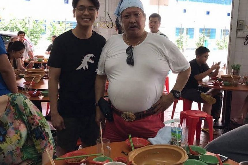 Young restaurant boss Allan Tan with Hong Kong superstar Sammo Hung, who dropped by his Geylang restaurant on Friday (Feb 3).